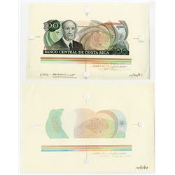 Banco Central De Costa Rica, 1987 Archival Large Margin Production Specimen/Proof with Progress Proo
