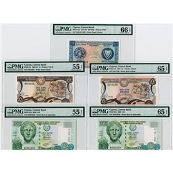 Central Bank of Cyprus, 1976 to 2005 Graded Banknote Quintet.