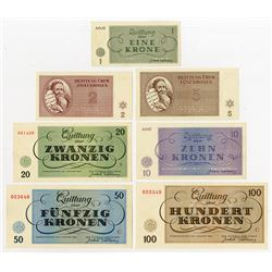 Theresienstadt 1943 Concentration Camp Currency Set of 7.