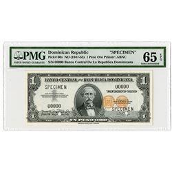 Error Note - Banco Central De La Republica Dominicana, ND (1947-55) Error With Double Signature on l