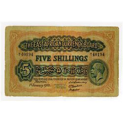 East African Currency Board, 1933 Nairobi Issue Banknote.