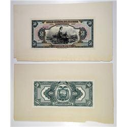 Banco Central Del Ecuador, 1928 Issue, Proof Banknotes