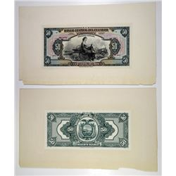 Banco Central Del Ecuador, 1928 Issue, Proof Banknotes
