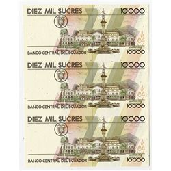 Banco Central del Ecuador, 1988-98, 10000 Sucres Uncut Sheet of 3 Progress Proofs.