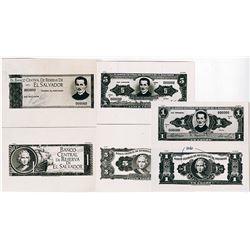 Banco Central De Reserva De El Salvador, 1967 U.S. Banknote Company Photo-Proof Essay Banknote Trio.