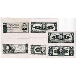 Banco Central De Reserva De El Salvador, 1967 U.S. Banknote Company Photo-Proof Essay Banknote Trio.