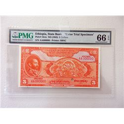 State Bank of Ethiopia ND (1945) Color Trial Banknote.
