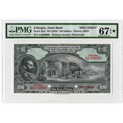 State Bank of Ethiopia, ND (1945) $100 Specimen Banknote.