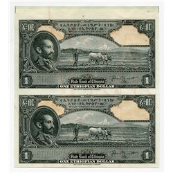 State Bank of Ethiopia. ND (1945). Uncut Sheet of 2 Progress Proof Specimen Banknotes.