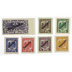 X Armeekorps. ND (1917). Septet of Stamp-like Notgeld.