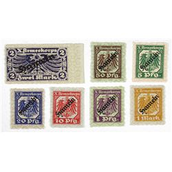 X Armeekorps. ND (1917). Septet of Stamp-like Notgeld.