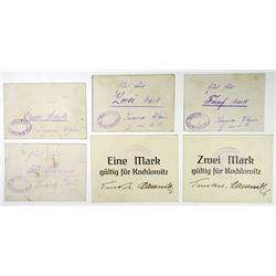 Assorted German Notgeld Issuers. ND (ca.1915-18). Sextet of POW Scrip.
