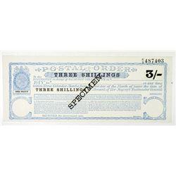 Her Majesty's Postmaster General, Specimen Postal Order ND ca.1860-70's.