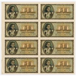 Bank of Greece, 1943 Inflation Issue Uncut sheet of 8 Progress Proof Specimen notes.