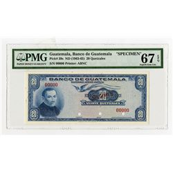 Banco De Guatemala, ND (1963-65) Specimen Banknote, Finest Known in the PMG Census.