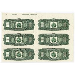 Banque De La Republique D'Haiti,1988 Proof Uncut Sheet of 6 notes With Small Printing Flaws Marked