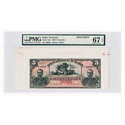 Republique D'Haiti, 1908 Specimen Banknote