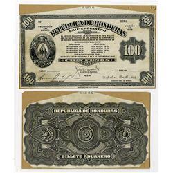 Republica de Honduras, Billete Aduanero (Customs Notes), 1927 Progress Proof Face & back.