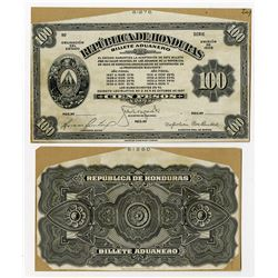 Republica de Honduras, Billete Aduanero (Customs Notes), 1927 Progress Proof Face & back.