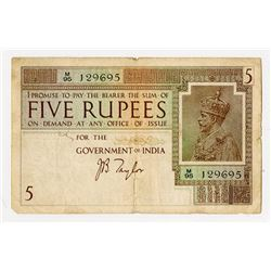 Government of India, ND (1917-1930) 5 Rupees Issue Banknote.