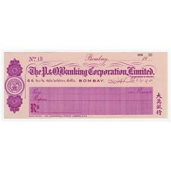 P.&O. Banking Corporation, Ltd., 1920 Waterlow & Sons Specimen Check.
