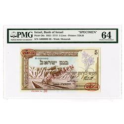 Bank of Israel, 1955 / 5715 Specimen Banknote