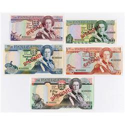 States of Jersey, 1989, Specimen Banknote Quintet.