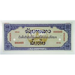 Laos, Lao Issara SPECIMEN 1948, 10 Kip, P-Unlisted, CU to Gem Unc. SBNC