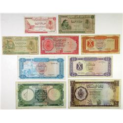 Various Libyan Issuers. 1951-1972. Group of 9 Issued Banknotes.