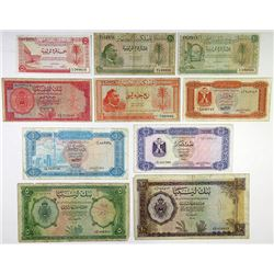 Various Libyan Issuers. 1951-1972. Group of 10 Issued Banknotes.