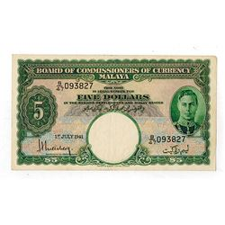Board of Commissioners of Currency Malaya, 1941 Issue Banknote.
