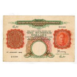 Board of Commissioners of Currency Malaya, 1942 $100 P-15 Issue Banknote.