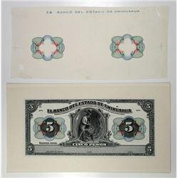 Mexico, Banco Del Estado De Chihuahua, 1913 5 Pesos P-S132p & Proof Undertint