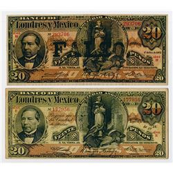 Banco De Londres y Mexico, Unlisted 1912 Date & 1913 Issued and Well Done Counterfeit Banknote Pair.