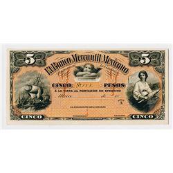 Banco Mercantil Mexicano 1882, 5 Pesos Uniface Front Proof.