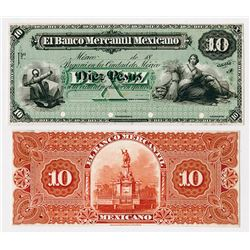 Banco Mercantil Mexicano 1882, 10 Pesos Uniface Front & Back Proof Pair.