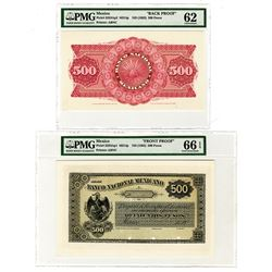 Banco Nacional Mexicano, ND (1882) 500 Pesos Face and Back Proof Pair.