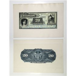 Banco de Guanajuato ND, Ser. A, (ca.1900-1909) Banknote Face and Back Proofs.