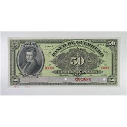 Banco De Guerrero, 190x (1904) Specimen Banknote.