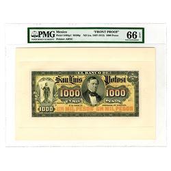 Banco De San Luis Potosi, ND (ca.1897-1913) 1000 Pesos Face and Back Proof Pair.