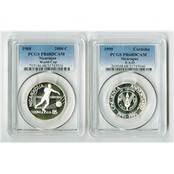 Nicaragua. 1988-1995. Pair of Silver Proof Coins.
