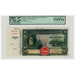 Banco Nacional Ultramarino, 1909 10 Mil Reis Specimen Banknote.