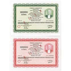 Turkiye Cumhuriyeti, 1990 Specimen Bond Pair