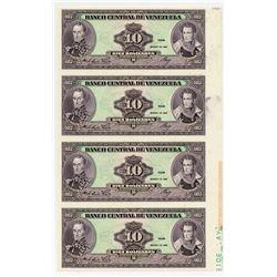 Banco Central De Venezuela, 1986 Uniface Face Proof Uncut Strip of 4 Notes