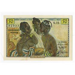 Banque Centrale Des Etats De L'Afrique De L'Ouest, 1958 Issue Banknote.