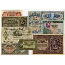 Worldwide Banknote Assortment, ca.1887-1960's Featuring 1929 100 Gulden De Javasche Bank.