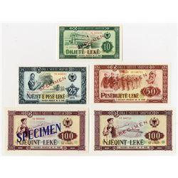Banka e Shtetit Shqiptar. 1964-1976. Quintet of Specimen Notes.