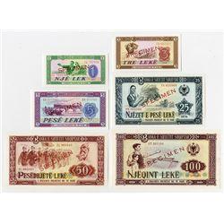 Banka e Shtetit Shqiptar. 1976. Set of 6 of Specimen Notes.