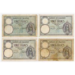 Banque de l'Algerie. 1926-1932. Quartet of Issued Banknotes.