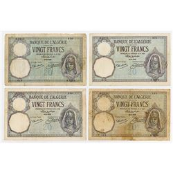 Banque de l'Algerie. 1926-1932. Quartet of Issued Banknotes.
